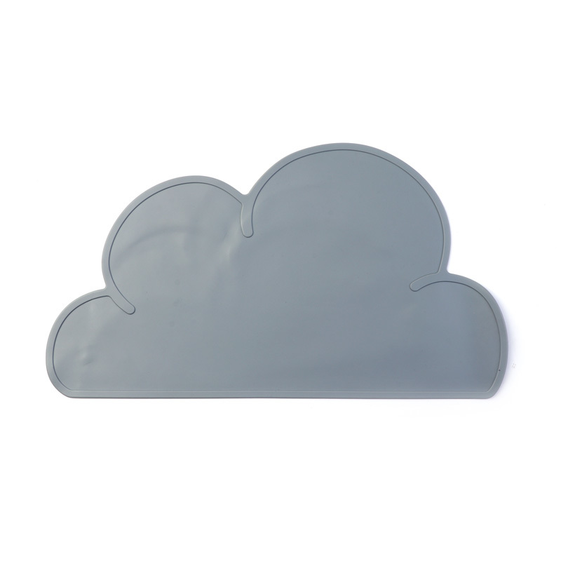 Food Grade Children's Grid Silicone Placemat Plate (cloud)