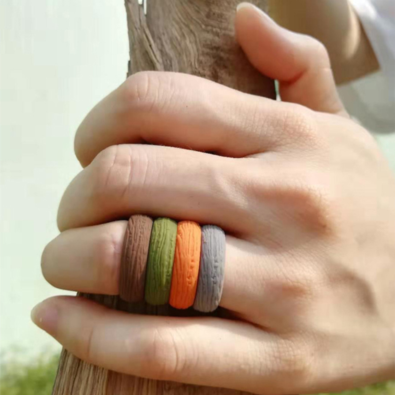 Tree Bark Grain Silicone Wedding Ring