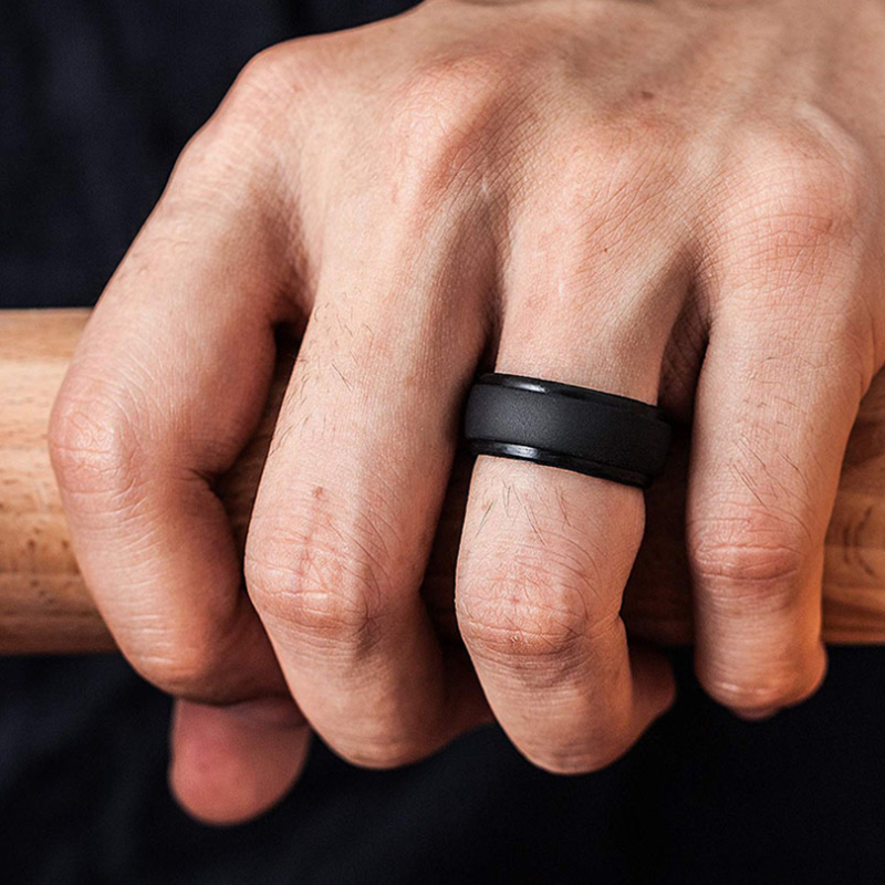 Stepped Edges Men`s Silicone Wedding Ring